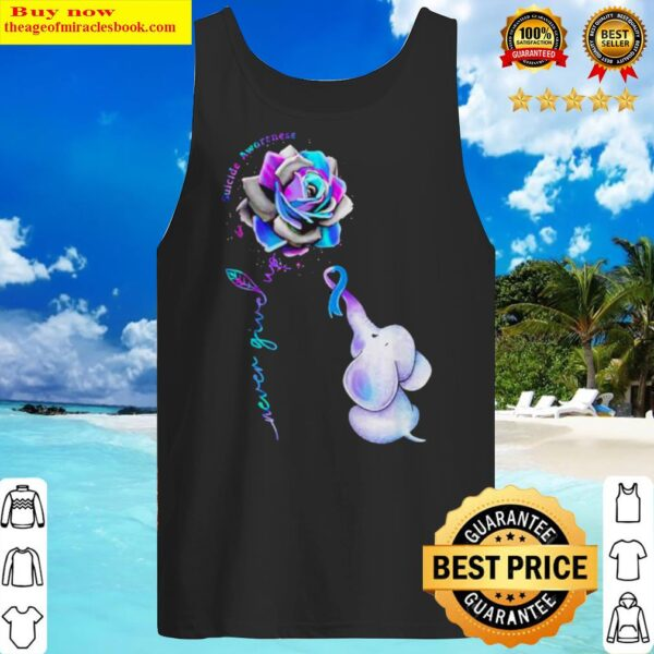 Hot Elephant suicide awareness rose never give up Tank Top