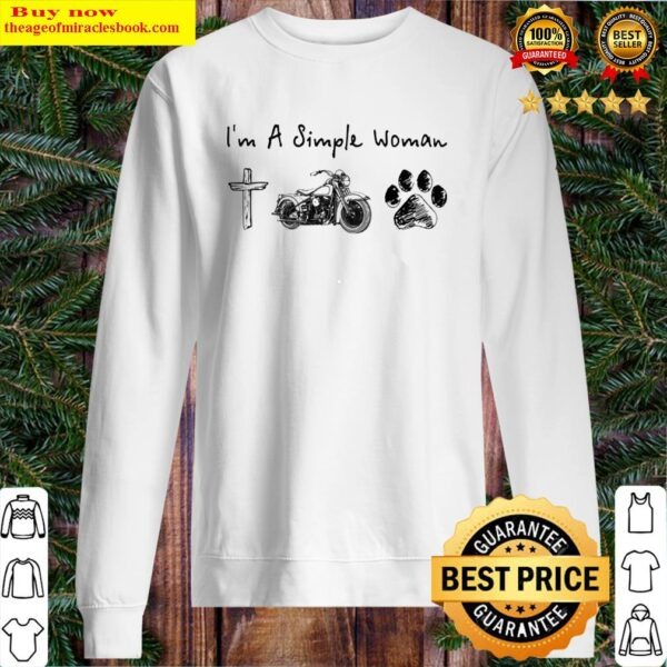 I'm A Simple Woman Jesus Motorcycle Dog Paw Sweater