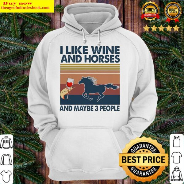 I LIKE WINE AND HORSES AND MAYBE 3 PEOPLE VINTAGE RETRO Hoodie
