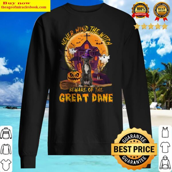 Never Mind The Witch Beware Of The Great Dane Halloween Moon Sweater