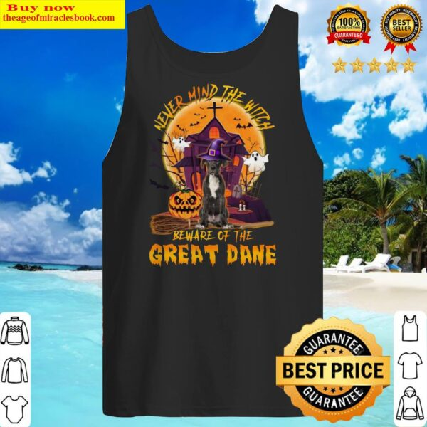 Never Mind The Witch Beware Of The Great Dane Halloween Moon Tank Top