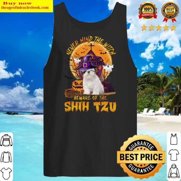 Never Mind The Witch Beware Of The Shih Tzu Halloween Moon Tank Top