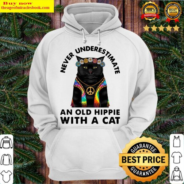Never Underestimate An Old Hippie With A Cat Hoodie
