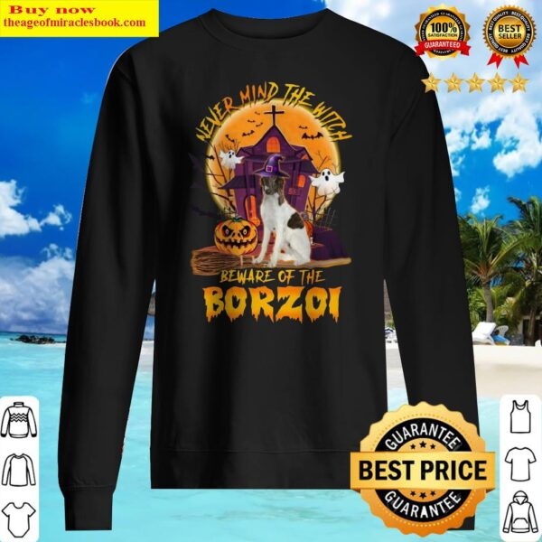 Official Never Mind The Witch Beware Of The Borzoi Halloween Moon Sweater