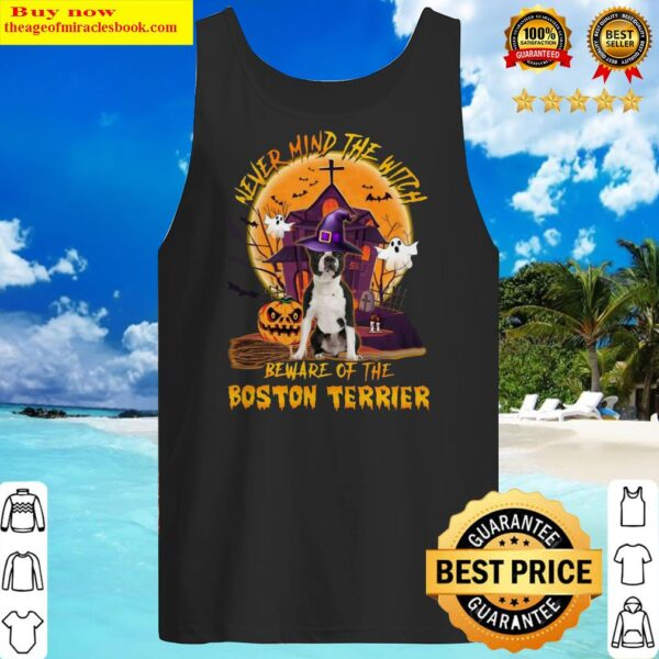 Official Never Mind The Witch Beware Of The Boston Terrier Halloween Moon Tank Top
