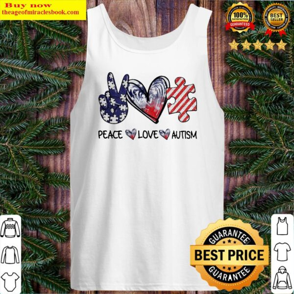 Peace Love Autism diamond Tank Top