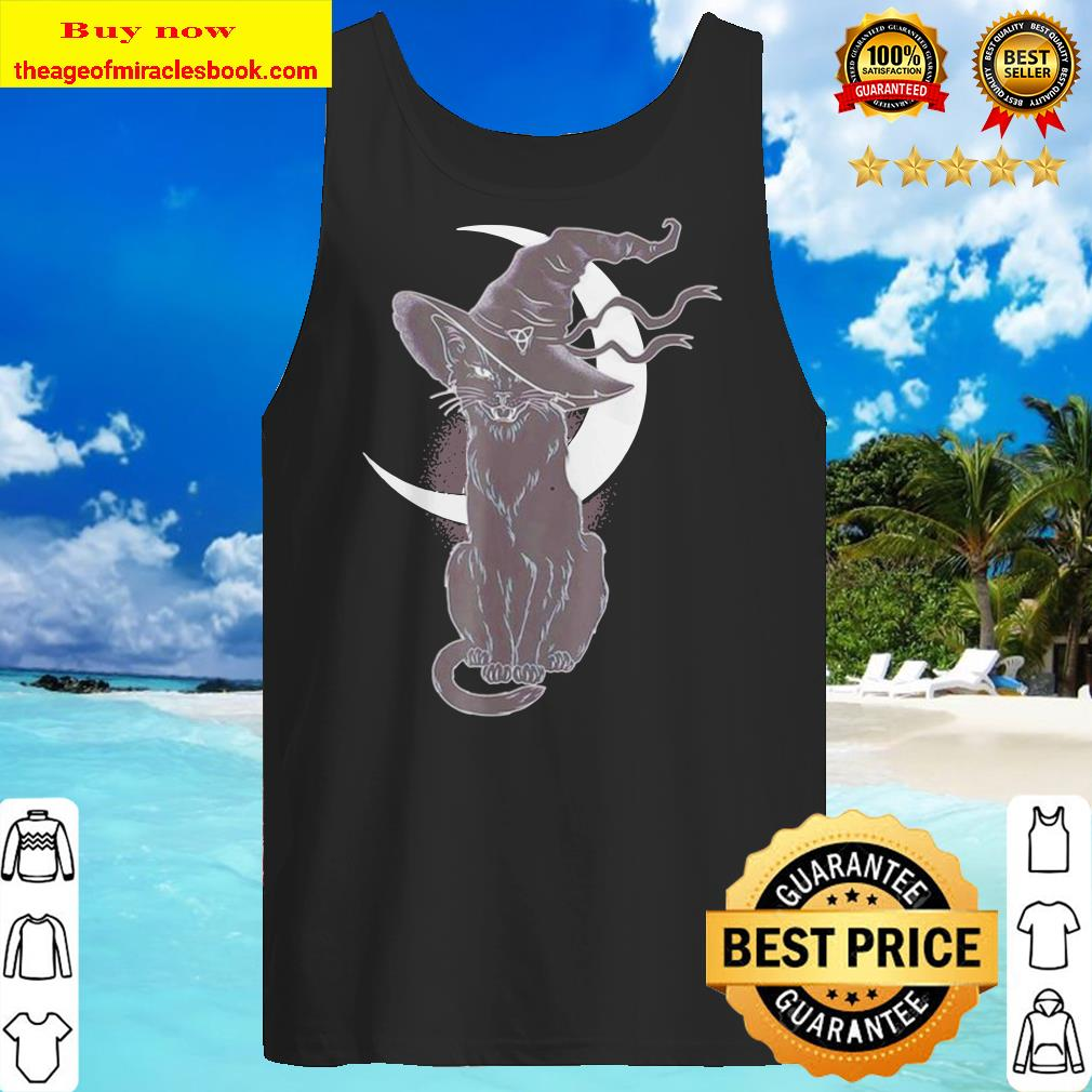 Scary Halloween black cat costume witch hat and moon Tank top