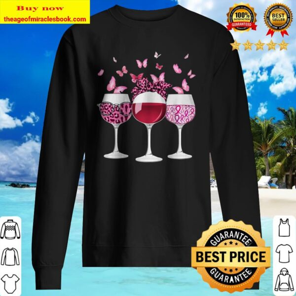 Wine Glasses Butterflies Breast cancer Sweater