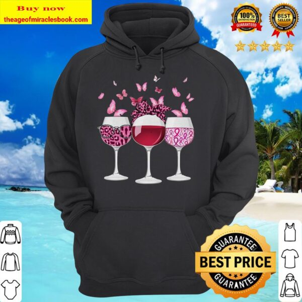 Wine Glasses Butterflies Breast cancer hoodie