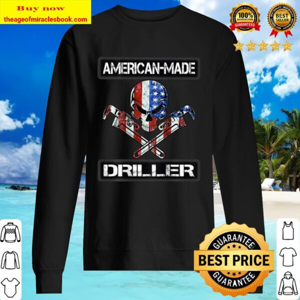 American Made Driller Skull Wrenches American Flag Grunge Sweater
