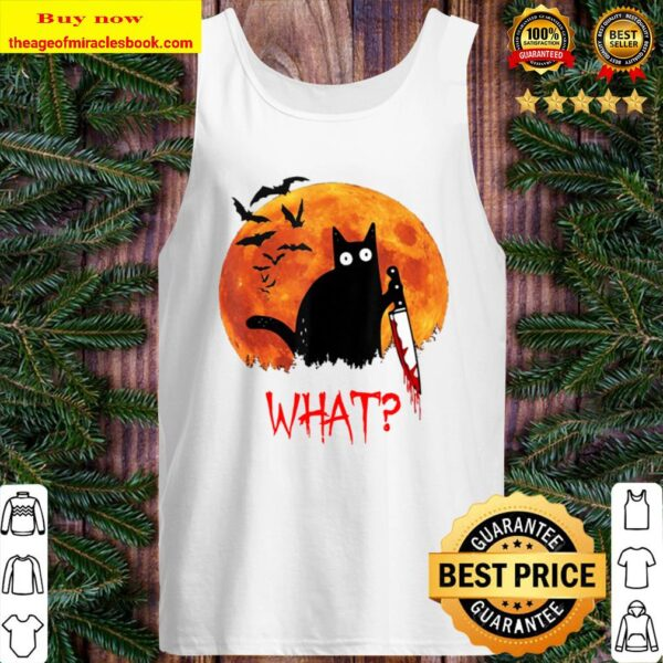 Cat What Funny Black Cat Murderous Cat With Knife Tank Top