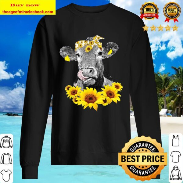 Cow wears a bow butterfly pumpkin lights Sweater