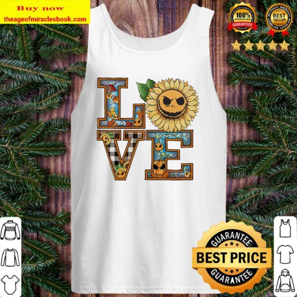 Face Jack Skellington sunflower pumpkin Love Halloween Tank Top