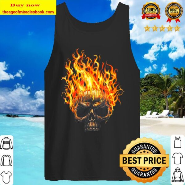 Flame Skull Head Halloween Halloween Skeleton Tank Top