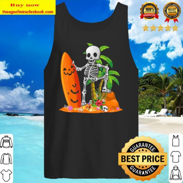 Funny Skeleton Surfing Surfboard Hawaiian Halloween Tank Top