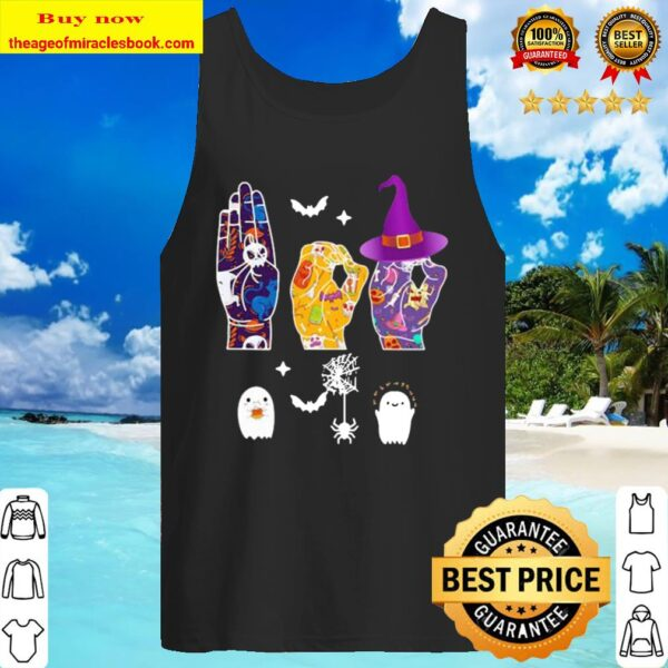 Halloween witch hand sign language Tank Top