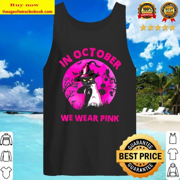 In October We Wear Pink Breast Cancer Awareness Cat Lover Tank Top