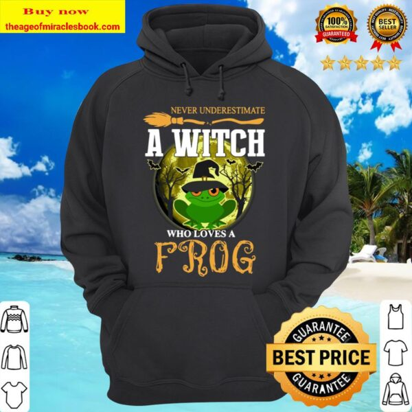Never underestimate a Witch who loves Frog and Moon Halloween Hoodie