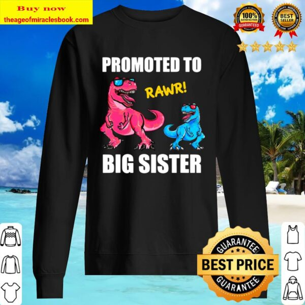 Promoted To Big Sister 2021 Outfit Dinosaur Women Girl Sweater