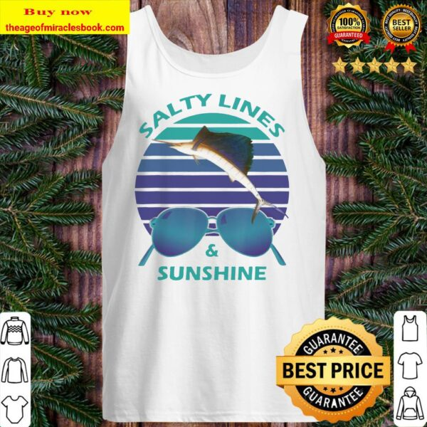 Salty Lines _ Sunshine Retro Sunset with Marlin Tank top