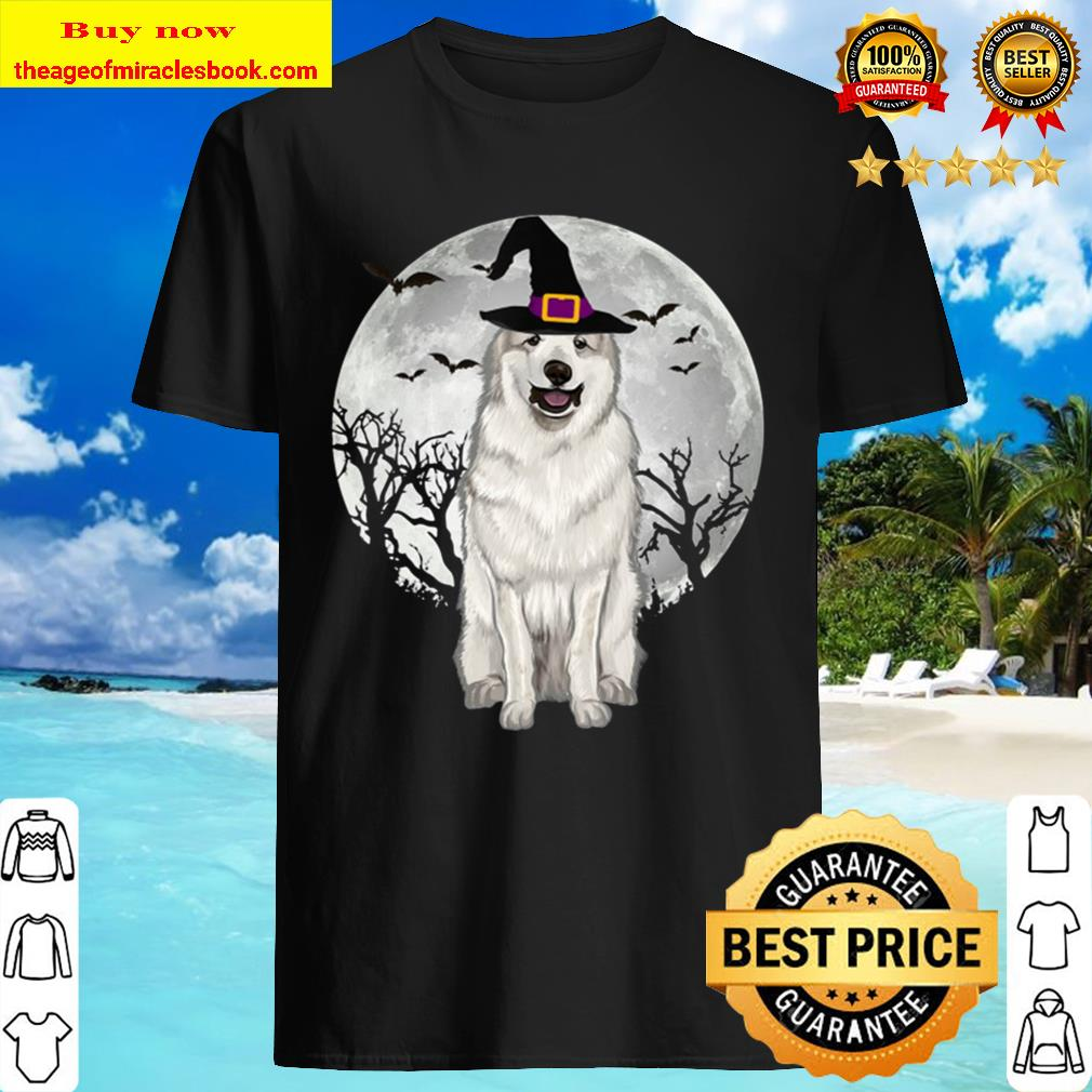 Scary Great Pyrenee Dog Witch Hat Halloween Shirt