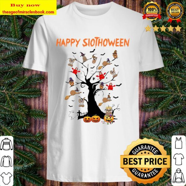 Sloths tree Happy Slothhoween Halloween Shirt