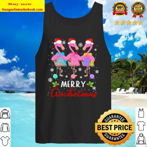 Flamingos Merry Crochetmas christmas Tank Top