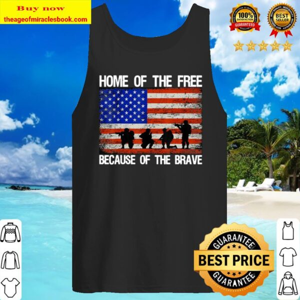 Home Of The Free Because Of The Brave Veteran American Flag Tank Top