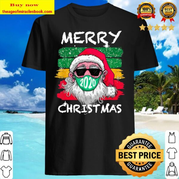 Merry Quarantine Christmas 2020 Family Pajamas Santa Mask Shirt