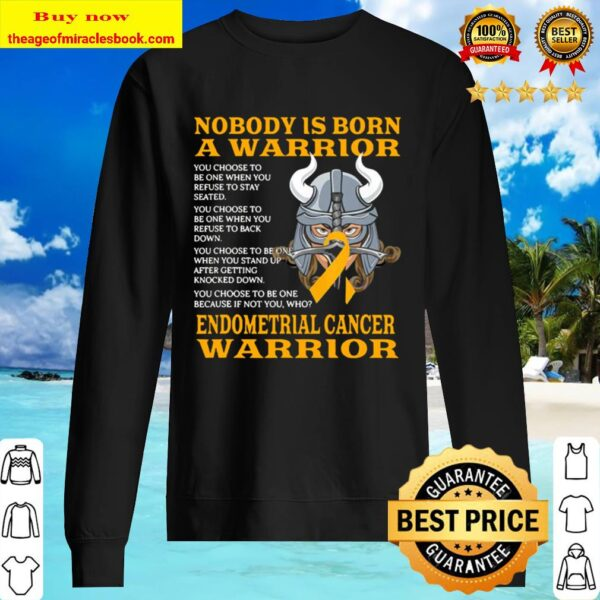 Nobody Is Born A Warrior Endometrial Cancer Warrior Sweater