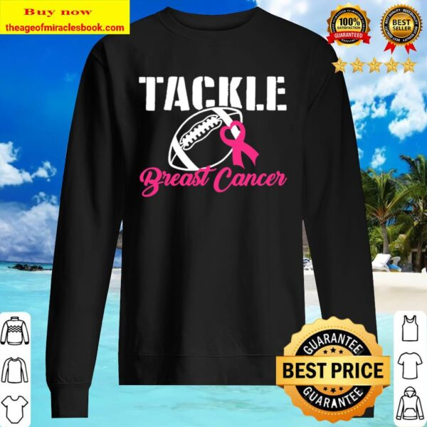 Pink Tackle Breast Cancer Foot Ball Ribbon Awareness Fighter Sweater