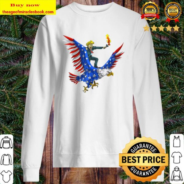 Trump On USA Eagle Cute US 4th Of July Funny American Sweater