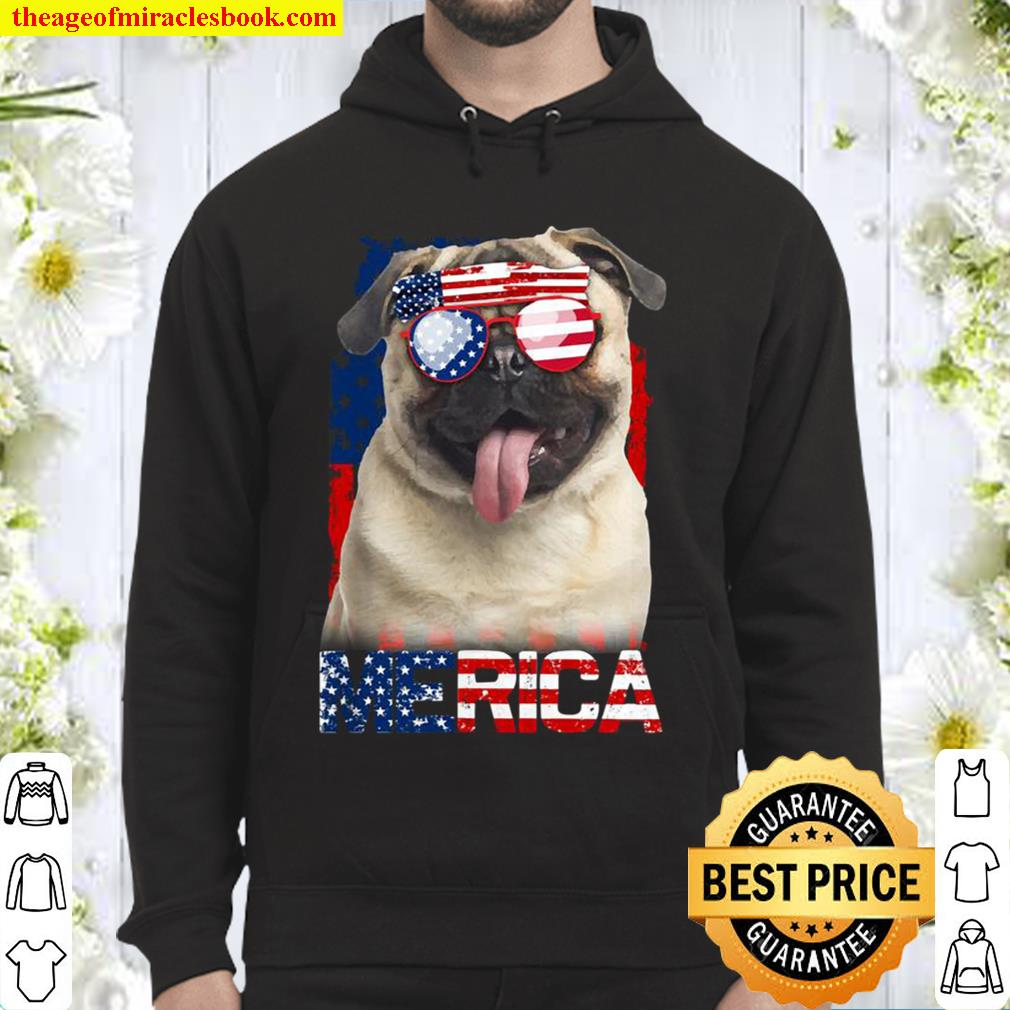 4th of July Shirt American Flag Pugs Dog Lover Gifts Hoodie
