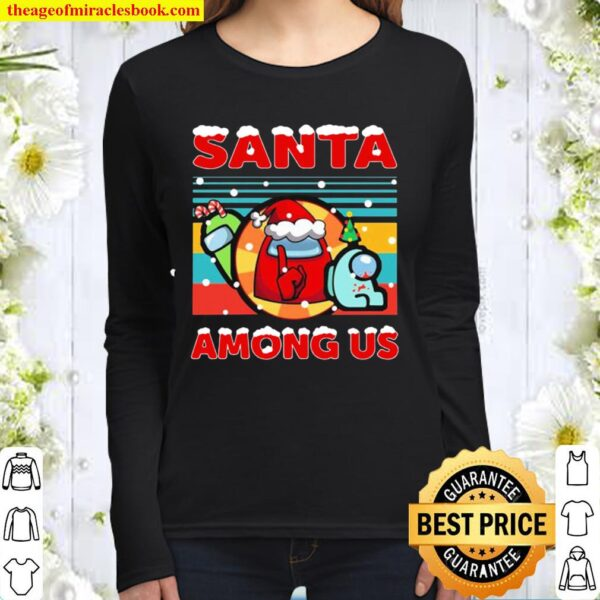 Among us santa merry christmas vintage retro Women Long Sleeved