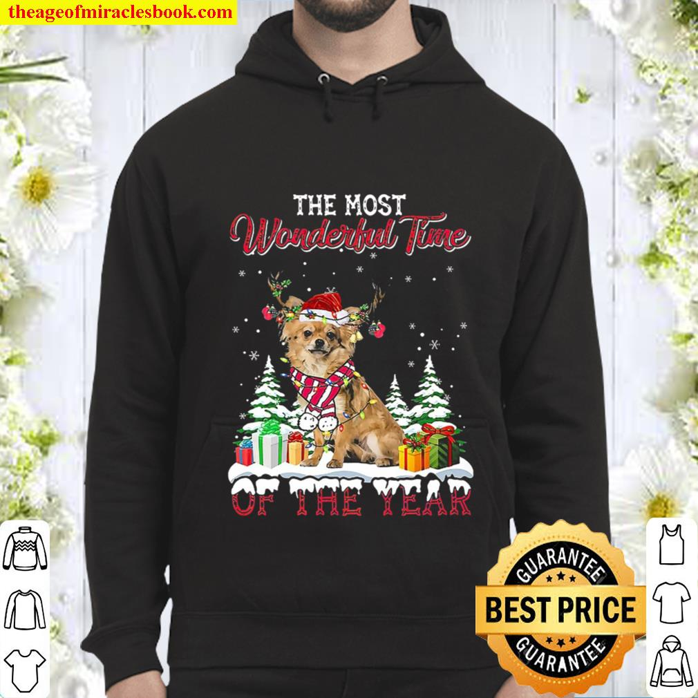 Christmas The Most Wonderful Time Of The Year Long Haired Chihuahua Hoodie