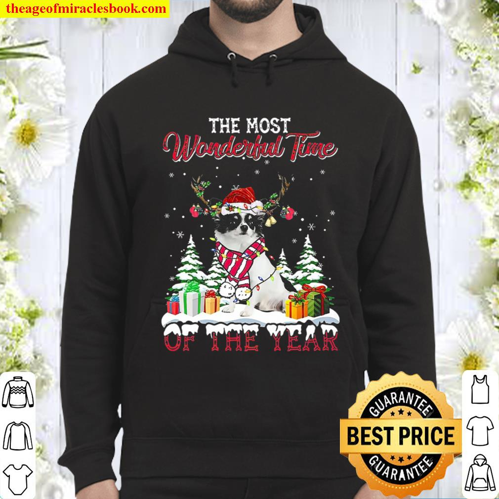 Christmas The Most Wonderful Time Of The Year White Long Haired Chihua Hoodie