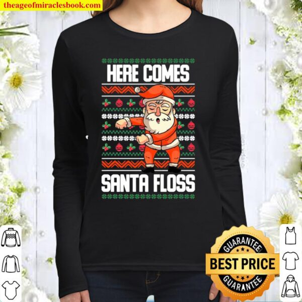 Christmas santa doing floss ugly Women Long Sleeved