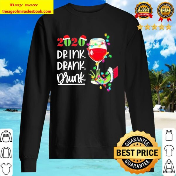Grinch hand holding Wine 2020 drink drank drunk Sweater