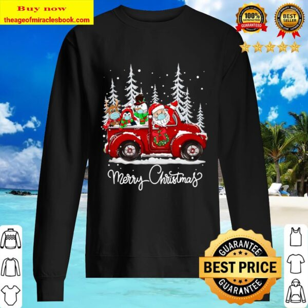 Merry Christmas Squad 2020 Santa Face Mask Red Truck Friends Sweater