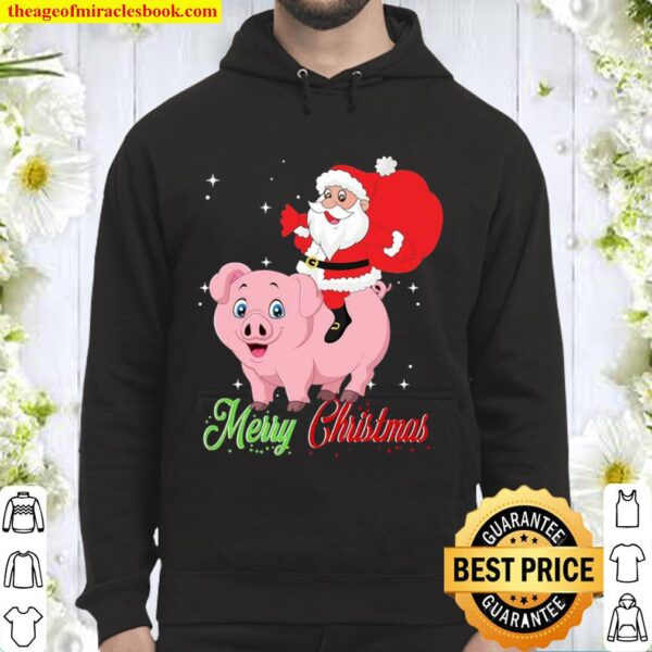 Merry christmas pig and santa claus Hoodie