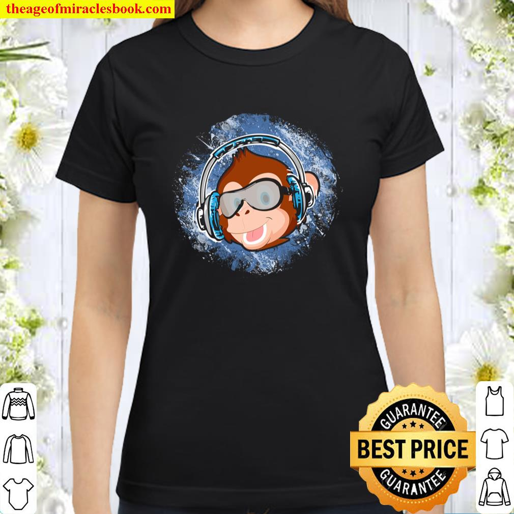 Monkey Chimp With Sunglasses And Headphones Funny Pullover Classic Women T-Shirt