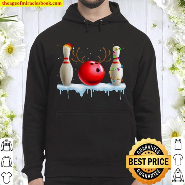 Nice Bowling Christmas Santa Hat Lights Bowling Lover Hoodie