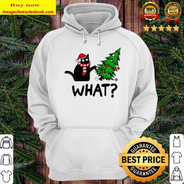 Official Black Cat What Merry Christmas Tree Hoodie