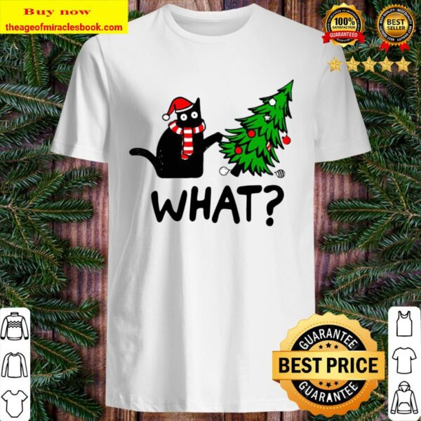 Official Black Cat What Merry Christmas Tree Shirt
