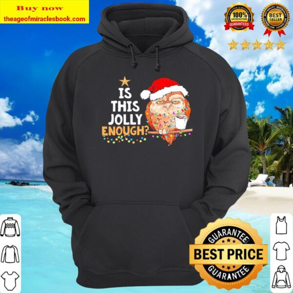 Owl Santa drink Coffee Is this Jolly enough light Christmas Hoodie