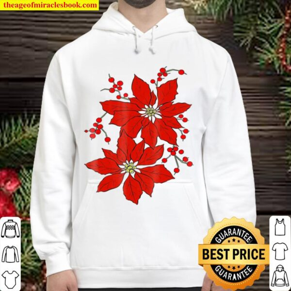 Red Poinsettia Happy Merry Christmas Hoodie