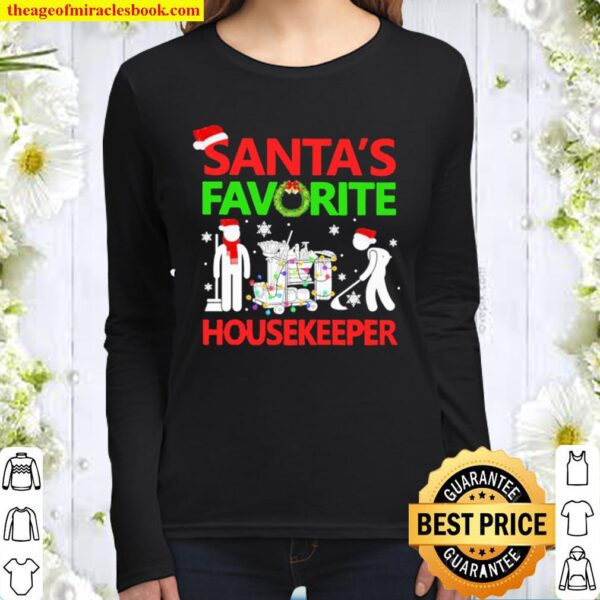 Santa's favorite mask masker Housekeeper Christmas Women Long Sleeved