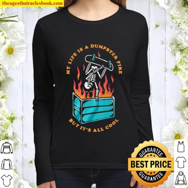 Skeleton Dumpster Fire Women Long Sleeved
