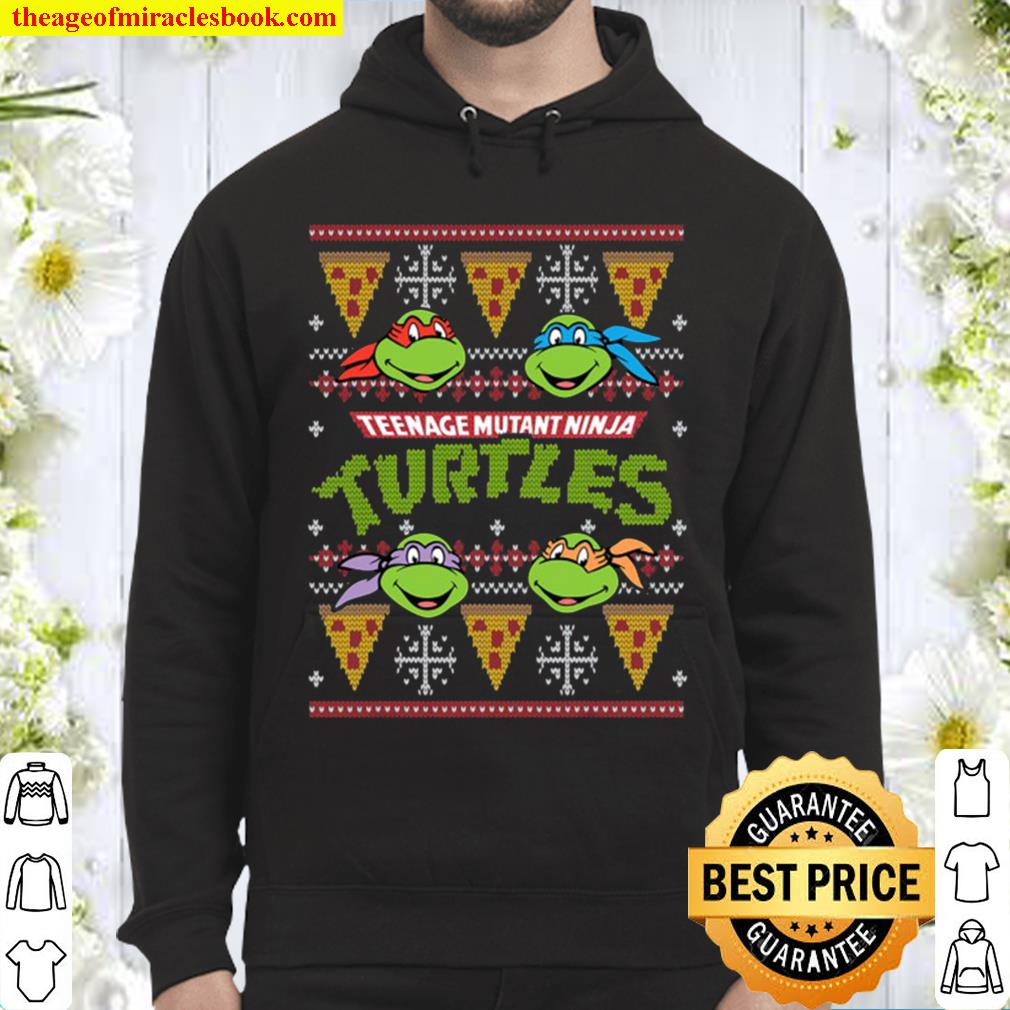 Tmnt Ugly Christmas Sweater With Pizza Hoodie