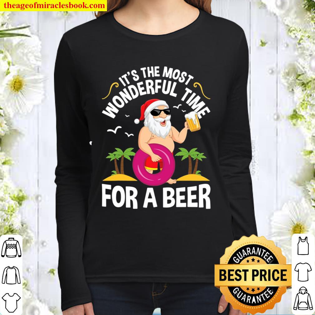 Tropical Christmas It's The Most Wonderful Time For A Beer Women Long Sleeved